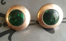 Knotless Vail Holda Victorian Mourning Broch X2 Gold Fronted Dark Green Stone...