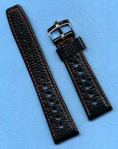20mm GENUINE LEATHER RALLY BLACK RACING STRAP MB RED STITCHING & ROLEX BUCKLE