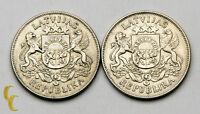 1925-1926 Latvia 2 Lati Silver Coin Lot of 2, KM# 8