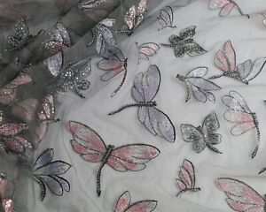 Sequins Embroidered Mesh Dragonflies Lace Fabric Glitzy Gown Sold By The Yard