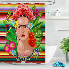 Frida Kaklo Floral Exotic Portrait Shower Curtain Set Waterproof Fabric Bathroom