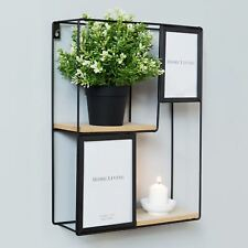 Moroccan Collection Square Metal Wall Shelf & Photo Frames Unit