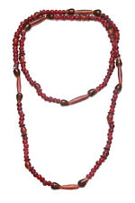 ULTRA GLAMOROUS MAROON & AMBER BEADED NECKLACE, CHIC AND CLASSY (ZX54)