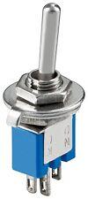 Kippschalter Subminiatur 1xUM   3 Pins   blaues Gehäuse - mit blanken Metallhebe