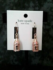 NWT Kate Spade Make Magic Rose Gold Champagne Drop Earrings Clip-ons