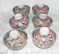 Six Antique Japanese Imari Rice Bowls with Covers Meiji Circa 1890