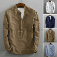 Mens Long Sleeve Collarless Cotton Linen Shirt Casual Slim Fit Plain Blouse Tops