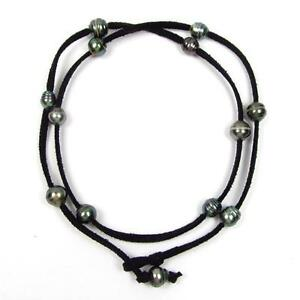 """32"""" Baroque Tahitian Pearl Black Cord As Bracelet, Anklet or Necklace"""