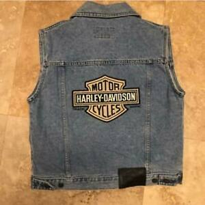 HARLEY DAVIDSON  Vest Denim Vest Embroidered Biker Motorcycle HD Logo Eagle