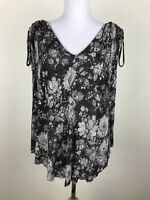 Free People Blouse Size S Gray Floral Rayon Spandex Sleeveless V Neck Shirt Top
