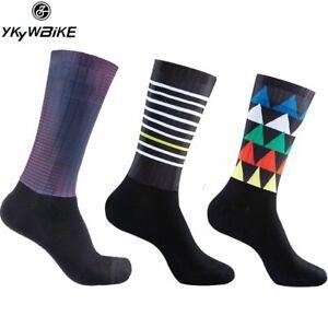 YKYWBIKE Anti Slip Silicone Aero Socks Whiteline Cycling Socks Men Bicycle Bike