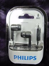 2 X Philips SHE1405BK in-Ear Headphone Headset With Mic  Lot of 2  x 2 pcs