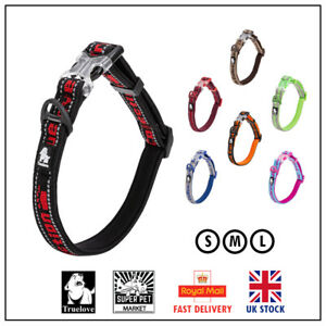 Dog Collar Truelove  Soft Padded Adjustable Reflective Strong Genuine S M L