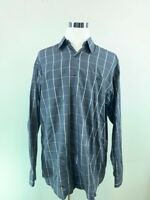 Marcus Mens Button Front Shirt Gray Windowpane Long Sleeve Pocket 100% Cotton XL