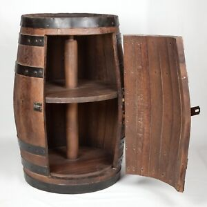 Shipping avail - Wine with rotating shelves lazy susan whiskey barrel furniture
