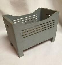 Dollhouse Miniature Wood Baby Bed in Blue-Grey Paint ~Antique Furniture ~Germany