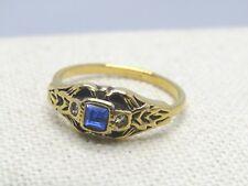 Vintage Avon Treasured Memories Ring, Victorian,Simulated Sapphire Ring, Sz. 8,