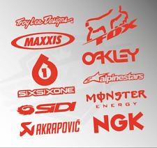 10 X Motocross MX Racing Sticker Kit - Sponsors Decals Fluorescent ORANGE Vinyl
