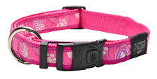 Rogz Side Release Collar - Pink Paws Dog Collar - Small Medium Large XL