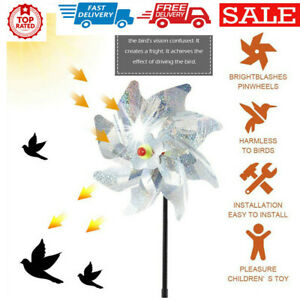 Bird Repellent Windmill Reflective Pest Scare Deterrent Device Decor 8Leaves