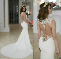 Mermaid White/Ivory Bridal Gown Sleeveless Backless Lace Wedding Dresses Custom