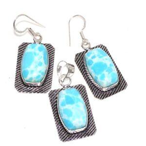 Mosaic Jasper 925 Silver Plated Handmade Pendant Earrings Set Ethnic Jewelry GW