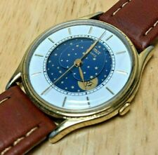 Vintage Timex Men Gold Tone Moon Phase Roman Analog Quartz Watch Hour~New Batter