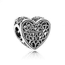Genuine Pandora Silver Openwork Romance Heart Charm 791811