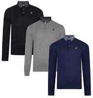 Kangol Mens Shirt Collar Jumper Cotton Smart Casual Long Sleeve Pullover Sweater