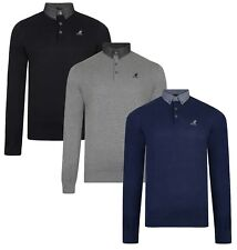 Kangol Mens Shirt Collar Jumper Cotton Smart Casual Long Sleeve Pullover Sweater
