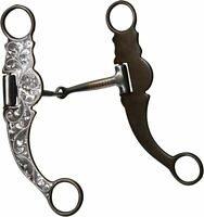 """SHOWMAN WESTERN HORSE BROWN / SILVER SHOW BIT 5.25"""" MOUTH ATTACHES TO THE BRIDLE"""