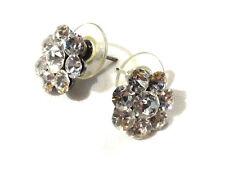 Bijou alliage argenté boucles d'oreilles fleurs strass  earrings