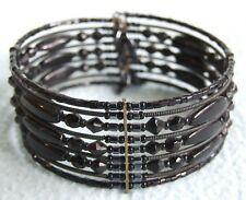 Art Deco Style GOTHIC Black Glass Beaded Cuff BANGLE