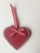 Wooden Heart Plaque Decoration Wall Hanging Christmas Red With White Dots
