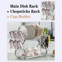 US 2 Tier Steel Dish Drying Rack Rack Drainer Holder Kitchen Storage Space Saver
