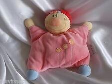 Doudou personnage rose, fleurs, grelot, semi-plat, Nattou