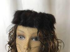 Vtg Real Fur Mink Women's Pillbox Hat Black Veil 1920s 30s 40s 50s 60s Art Deco