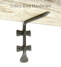2 Wrought Iron Shelf Brackets Handmade Rustic Antique Wall Support Book Holder