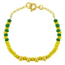 18k Gold Plated Green Yelow Orula Babalawo Bracelet for Small Ladies Tiny 5.5""