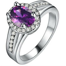 Fashion Women Purple Gemstone CZ Crystal Silver Wedding Ring Jewelry Size 9