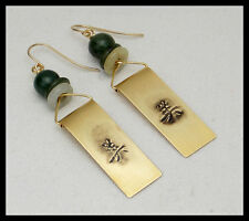 ASIAN SCROLLS - Handforged Embossed Bronze  and Jade Earrings
