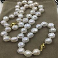 12-14MM HUGE baroque south sea pearl earrings Bracelet necklace set 18K GOLD