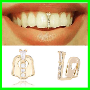 Thin Gap Grillz Hip Hop Gold Plated Teeth Upper Top  Lower Grill Accessories Cz