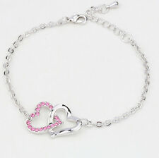 Fashion Pink Crystal Charm Heart To Heart Bracelets Bangle Chain For Women Lady