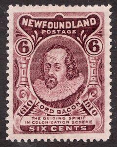 #98 - Newfoundland - 6c - Lord Bacon - 1910 - MH VF - Superfleas - cv$50