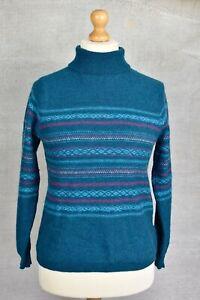 EWM edinburgh woolen mill green scandi fair isle nordic print knit jumper 12/14