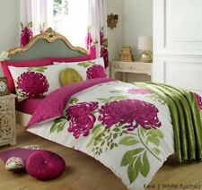Kew Luxury Duvet Cover With Pillow Case Bedding Set (all Sizes Available) Single White Fuschia