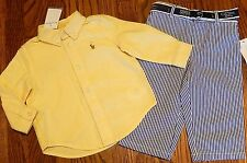 POLO RALPH LAUREN BABY BOYS BRAND NEW YELLOW DRESS SHIRT + PANTS SET Sz 9M, NWT