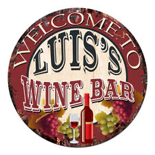 Cmwb-0104 Welcome to Luis'S Wine Bar Chic Tin Sign Man Cave Decor Gift