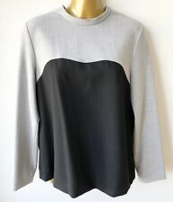 COS Grey & Black Boxy Structured Minimalist Utility Smart Top Blouse EU38 Uk 12